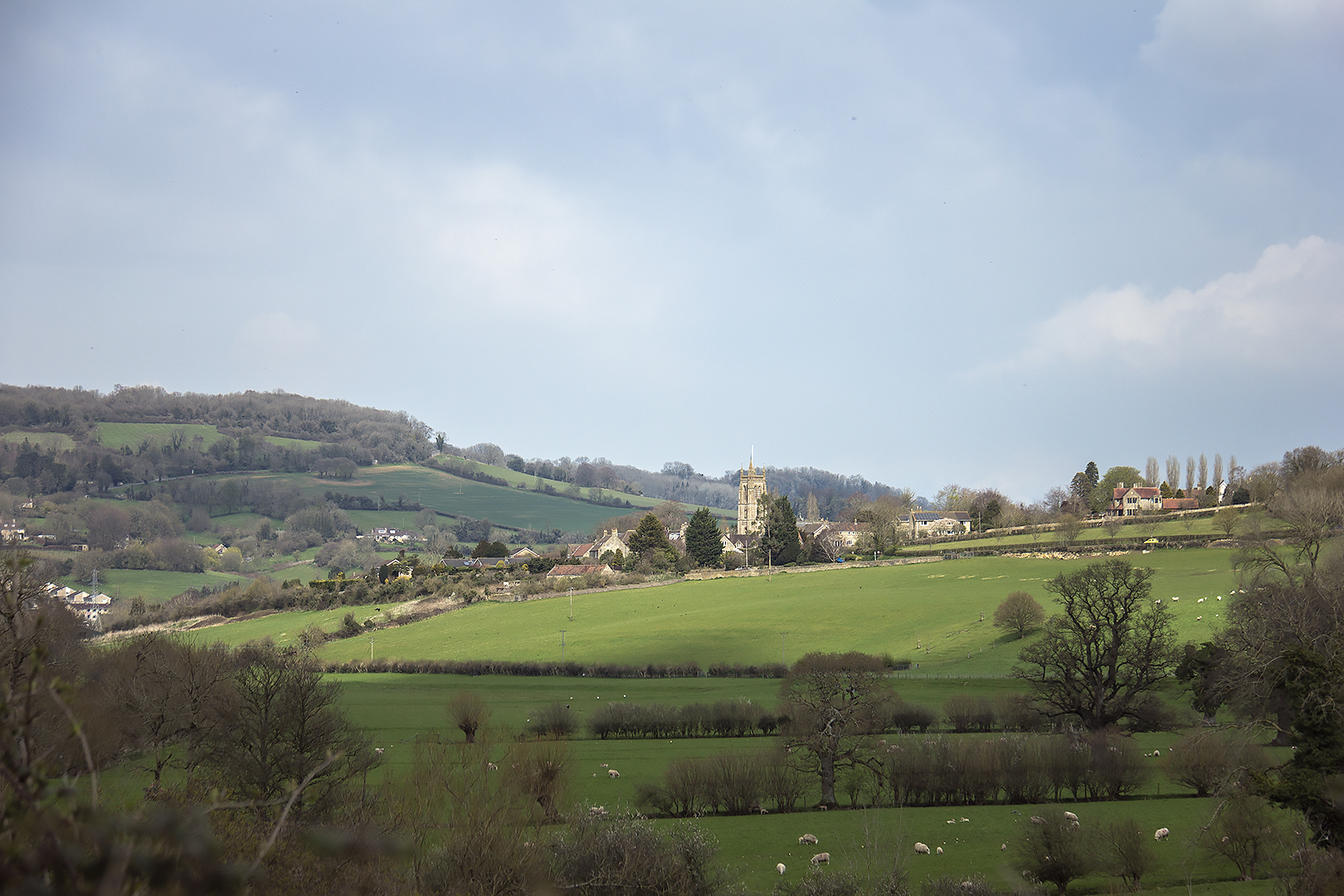St Swithun's Bathford viewed from the towpath along the river Avon